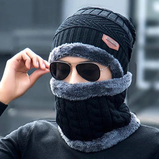 ニット帽 無地 防寒 ネックウォーマー アウトドア 新品 送料無料 2点セット(ニット帽/ビーニー)