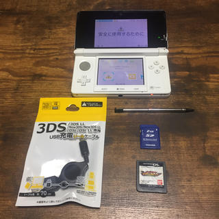 ニンテンドー3DS - 3DS 本体 白 USB充電器 SDカード おまけソフト付き