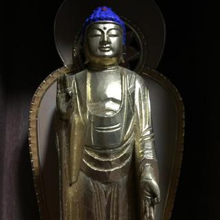 厨子 檜製 阿弥陀如来様 仏像 桧製 木彫り 彩色彫り(彫刻/オブジェ)