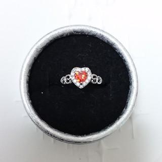 シルバー925刻印無しczインペリアルトパーズハート&ダイアモンドリング15号(リング(指輪))