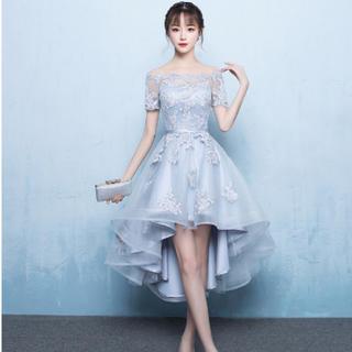 15eabcb6905c7 グレー ドレス ワンピース フィッシュテール レースアップ 発表会 キャバドレス(ミディアムドレス)