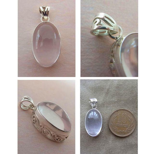 ローズクォーツ/パワーストーン/ペンダントトップ/手作り/天然石/大粒/一点物 レディースのアクセサリー(ネックレス)の商品写真