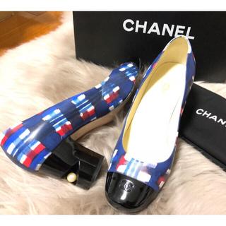シャネル(CHANEL)のCHANEL シャネルのロゴパンプス 38 ヒールパール 水彩 美品(ハイヒール/パンプス)