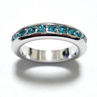 4号 スワロフスキー フルエタニティ ターコイズブルー シルバーリング(リング(指輪))