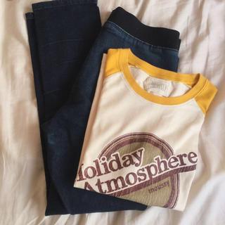 マウジー(moussy)のデニムアンクルレギパン&ラグランTシャツ(クロップドパンツ)