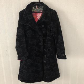 デシグアル(DESIGUAL)のデシグアル コート 黒 花柄 サイズ40(ロングコート)