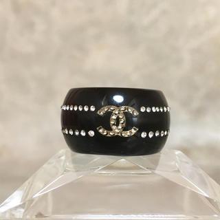 シャネル(CHANEL)の正規品 シャネル 指輪 ココマーク ラインストーン クリア 石 黒 リング 2(リング(指輪))