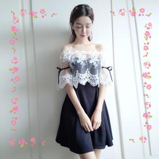 ザラ(ZARA)の刺繍 レース ショール セット パーティー ドレス M(ミニドレス)