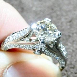 アンティーク ダイヤモンド 1ctUP プラチナ リング(リング(指輪))
