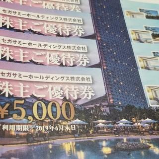 セガ(SEGA)のセガサミー株主優待券 ¥5,000 4枚セット(遊園地/テーマパーク)