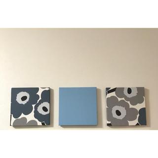 マリメッコ(marimekko)のマリメッコ ファブリックパネル 廃盤 ブルー グレー 3枚セット(ファブリック)