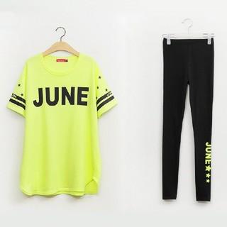 5L 新品 半袖Tシャツ+レギンス 黄 大きいサイズ カジュアルウェア スポーツ(Tシャツ(半袖/袖なし))