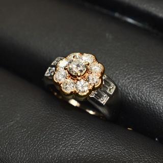 ダイヤモンド K18 PT900 コンビ リング (リング(指輪))