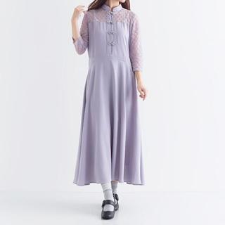 メルロー(merlot)の【merlot plus】デコルテレースチャイナボタンワンピース(ロングドレス)