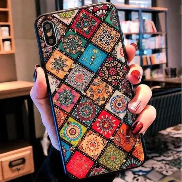iphone7plus ケース リング 、 新品 エスニック柄 チェック カラフル iPhoneケース TPU 耐衝撃の通販 by くろまめ's shop|ラクマ