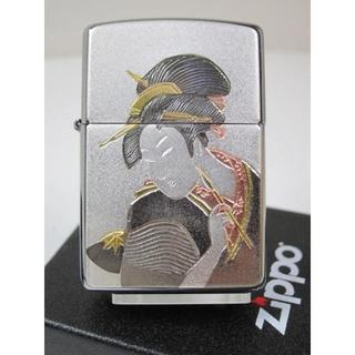 ジッポー(ZIPPO)のZippo 電鋳板 浮世絵(伝統和柄)ウキヨエ 美人画 キセル #200(タバコグッズ)