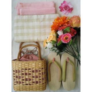 帯 下駄 かごバッグ きちゃく 帯紐 髪飾り 花 ベージュ 緑 ピンク浴衣 和 (浴衣)
