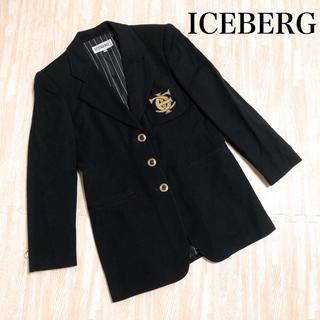 アイスバーグ(ICEBERG)のICEBERG アイスバーグ ジャケット 胸ロゴ イタリア製 ブラック 40(テーラードジャケット)