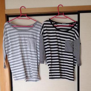 ジーユー(GU)のGU ボーダートップス 七分袖 格安!(Tシャツ(長袖/七分))