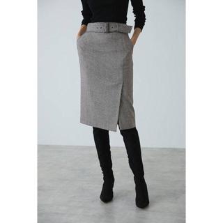 ピンキーアンドダイアン(Pinky&Dianne)の【新品・未使用】ウールチドリサイドベンツスカート(ひざ丈スカート)