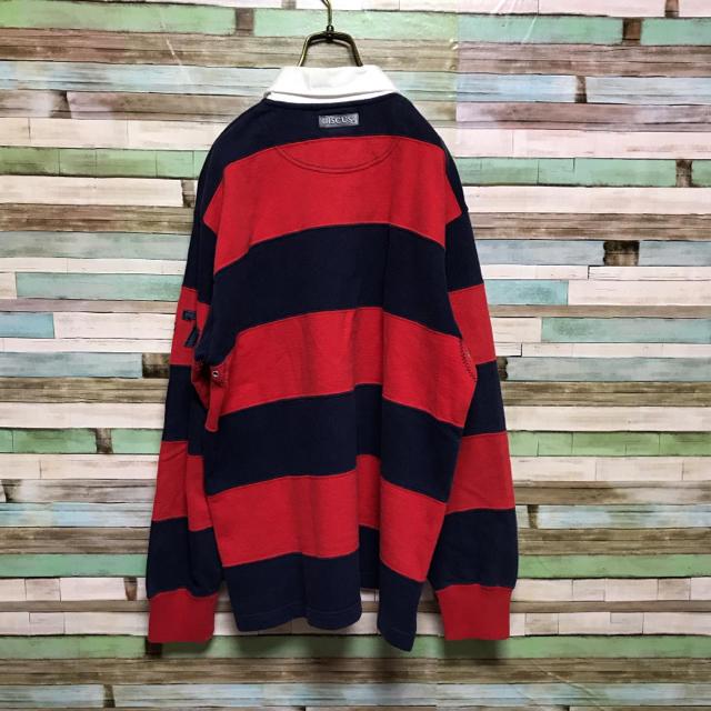 DISCUS(ディスカス)の90s ラガーシャツ 太ボーダー 肉厚 長袖 ワッペン ワンポイント メンズのトップス(ポロシャツ)の商品写真