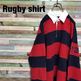 DISCUS - 90s ラガーシャツ 太ボーダー 肉厚 長袖 ワッペン ワンポイント