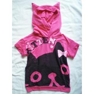 シマムラ(しまむら)の新品 バースデイ しまむら グループ 130 ワンピース ピンク 黒 猫耳 子供(ワンピース)