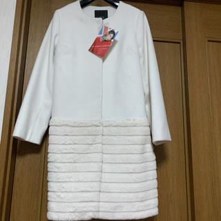 シマムラ(しまむら)の新品hk works london切り替えノーカラーコート オフホワイト M(ロングコート)