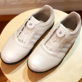 アディダス(adidas)のアディダス  ゴルフシューズ  23.5cm  白  美品(シューズ)