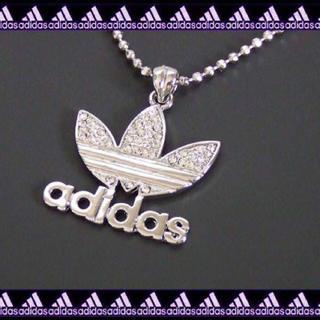 アディダス(adidas)の◇ラインストーンでかメタルロゴネックレス◇シルバー(ネックレス)