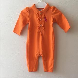 ラルフローレン(Ralph Lauren)の新品★ラルフローレン♪胸元フリルカバーオール オレンジ 3M60 (カバーオール)