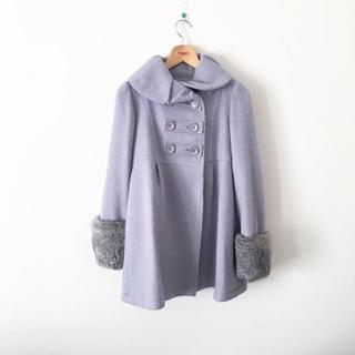 デンドロビウム(DENDROBIUM)のデンドロビウム ファー コート グレー ラビットファー 丸襟 Aライン(ロングコート)