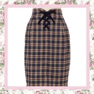 フィント(F i.n.t)の♡ベロアリボンレースアップタイトスカート♡(ひざ丈スカート)
