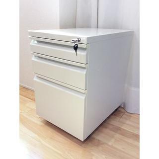 3段デスクサイドワゴン/オフィスワゴン/引き出し/書類収納 キャスター.鍵付き(オフィス収納)