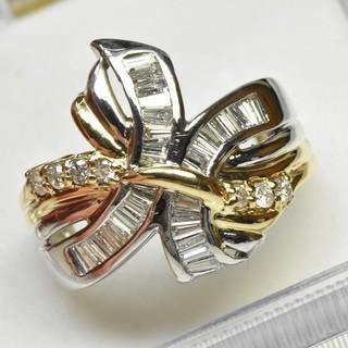 Pt900 K18 合計 1.00ct ダイヤモンドリング 15号 指輪(リング(指輪))