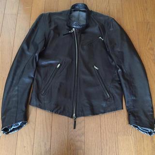 エカム(EKAM)のエカムEKAM ラムレザージャケット ブラック  サイズS(ライダースジャケット)