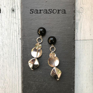415 black cabochon×silver  earrings(ピアス)