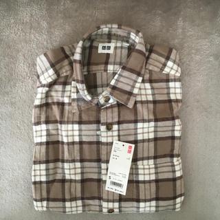 ユニクロ(UNIQLO)のユニクロ フランネルチェックシャツ ブラウン 茶 長袖 新品未使用(シャツ)