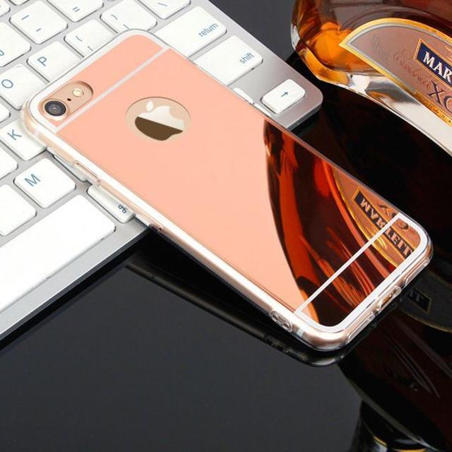iphone7plus,ピンクゴールド 鏡面 ミラーカバー スマホケースの通販 by クリス's shop|ラクマ