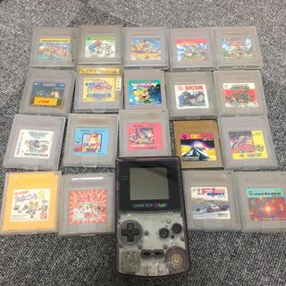 ニンテンドウ(任天堂)のゲームボーイカラー(クリアパープル)とソフトたち(携帯用ゲーム本体)