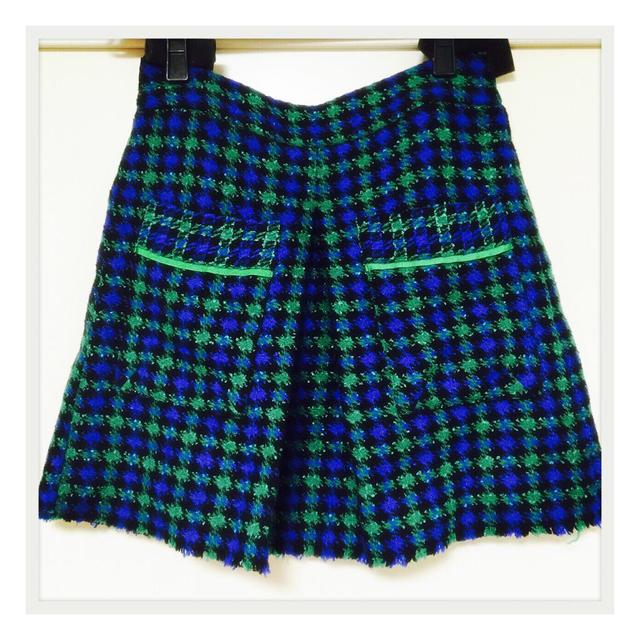 ZARA(ザラ)のブレア風 ブルーグリーンチェックスカート レディースのスカート(ミニスカート)の商品写真