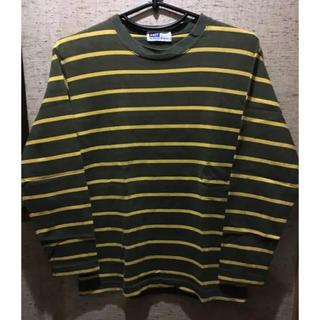ノット(KNOT)のKNOT 長袖ボーダーカットソー モスグリーン×黄 綿100%(Tシャツ/カットソー(七分/長袖))