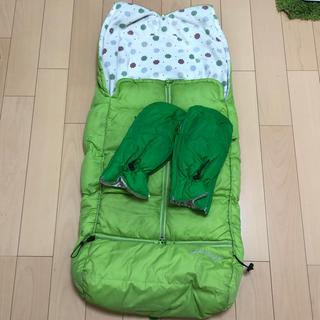 エアバギー(AIRBUGGY)のエアーバギー フットマフ ハンドマフ グリーン グリーンアップル(ベビーカー用アクセサリー)