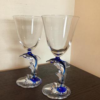 クリスタルダルク(Cristal D'Arques)のお値下げ!イルカ ワイングラス 2個組(グラス/カップ)