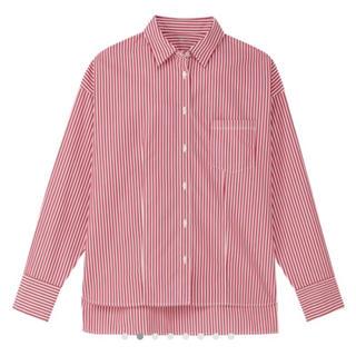 ムジルシリョウヒン(MUJI (無印良品))の[Rico☆様]綿ポプリンシャツ レッド×ホワイトストライプ(シャツ/ブラウス(長袖/七分))