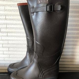 エーグル(AIGLE)のAIGLE ブラウンレインブーツ38エーグル長靴ラバーブーツ(レインブーツ/長靴)