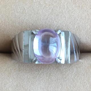 (40)アメジストカラーのストーンリング シルバー アンティーク(リング(指輪))