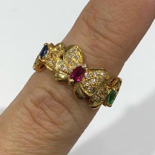 値下げ♡K18 ルビー サファイア エメラルド ダイヤモンド リング(リング(指輪))