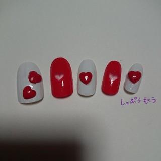 ネイルチップ バレンタイン レッド×ホワイトハートネイル