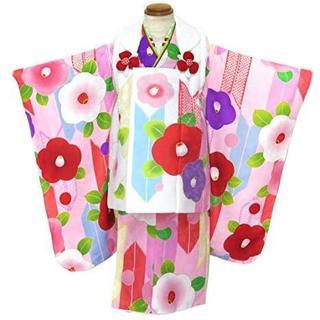 新品☆七五三 3歳 女の子 被布セット 「ピンク・椿」WHP1803(和服/着物)